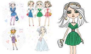 手绘效果时尚服饰女孩插画矢量素材