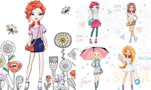 时尚服饰装扮美女模特插画矢量素材