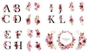 水彩花朵邀请函用元素创意矢量素材