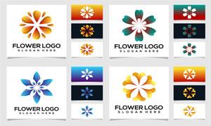 对称效果花朵图案标志创意矢量素材