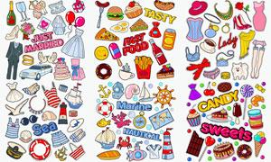 快餐与糖果等手绘风格贴纸矢量素材