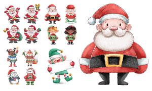 圣诞老人圣诞奶奶等卡通创意矢量图