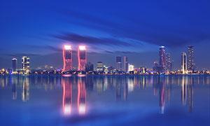 海边城市美丽夜景夜色摄影图片