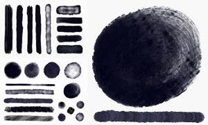 黑白墨跡筆觸主題設計元素矢量素材