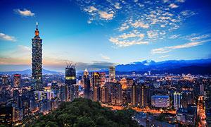 台北101大厦美丽夜景摄影图片