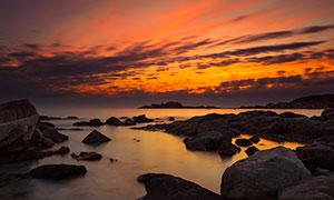 傍晚意大利撒丁岛美景摄影图片