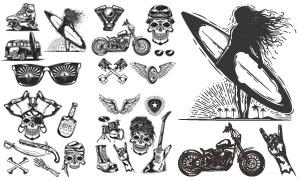 摩托与翅膀吉他等复古元素矢量素材