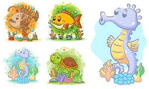 海马海龟与食人鱼等卡通动物矢量图