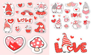 红心与蛋糕等卡通可爱贴纸矢量素材