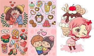情侣人物与糖果情人节创意矢量素材