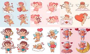 射箭的爱神情人节插画创意矢量素材