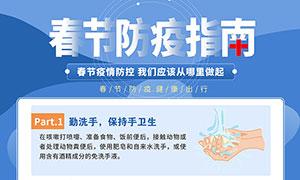 春节防疫指南宣传海报PSD素材