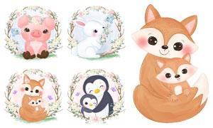 小猪与企鹅等可爱动物创意矢量素材