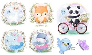 熊猫与狐狸等水彩创意插画矢量素材