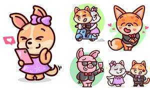 狐狸与小猪等卡通动物创意矢量素材