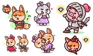 小猪与小狗等卡通动物主题矢量素材