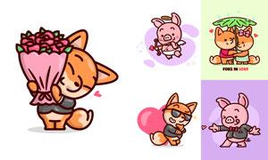 狐狸与小猪等可爱卡通动物矢量素材