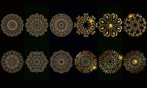 金色中心對稱花紋圖案主題矢量素材