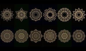金色圓形裝飾圖案主題設計矢量素材