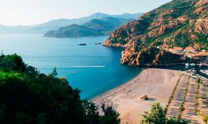 海边沙滩俯拍图美景摄影图片