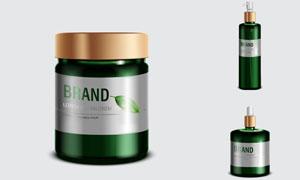 植物精華護膚用品包裝效果矢量素材