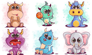 小牛与大象等卡通动物创意矢量素材