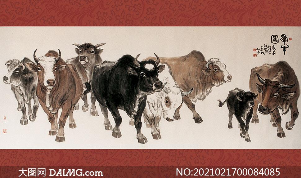 群牛图国画设计图片素材