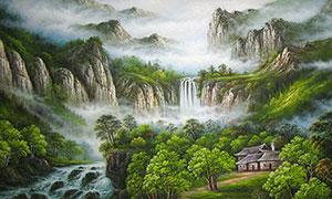 山腳下的山村國畫攝影圖片