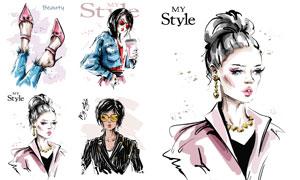 時髦女郎服飾人物繪畫創意矢量素材