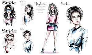 手繪風格時尚服飾美女人物矢量素材