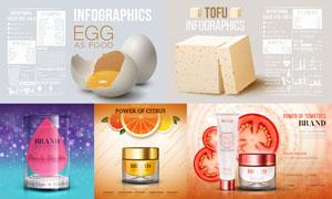 雞蛋豆腐信息圖表與護膚品矢量素材