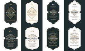 威士忌酒瓶身標簽貼紙設計矢量素材