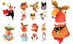 可愛動物卡通角色設定創意矢量素材