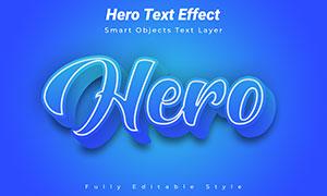 描邊樣式藍色立體字模板分層源文件