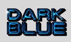 深藍色浮雕樣式立體字模板分層素材