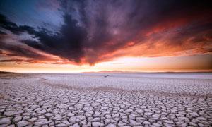 干涸的湖泊特寫攝影圖片