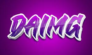 紫色能源主題3D立體字設計PSD模板