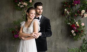 鮮花裝飾婚紗情侶人物攝影原片素材