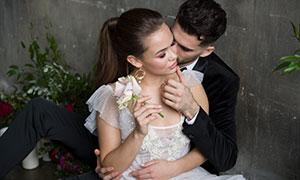 西裝男人妝容美女婚紗攝影高清原片