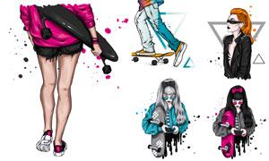 時尚滑板運動美女人物插畫矢量素材