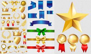 五角星與蝴蝶結等設計元素矢量素材