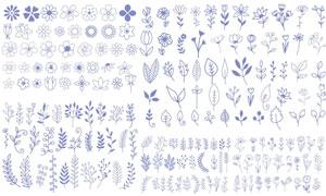 手绘线描花花草草植物主题矢量素材