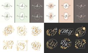 線描藤蔓圖案字母組合創意矢量素材