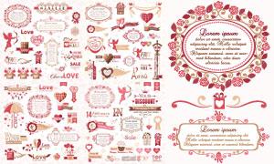 心形與裝飾邊框等情人節元素矢量圖