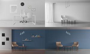 室内装饰画与桌椅家具主题矢量素材