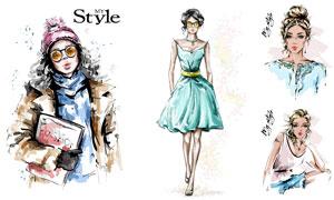 吊帶裙裝扮美女等手繪繪畫矢量素材