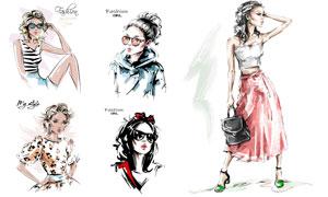 手繪素描效果時尚美女模特矢量素材