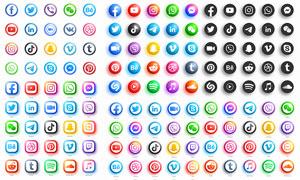 圓形與圓角樣式的社交平臺圖標素材