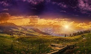 夕陽下的大山美景高清攝影圖片