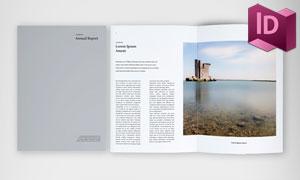 优雅简洁风格年终报告画册版式模板